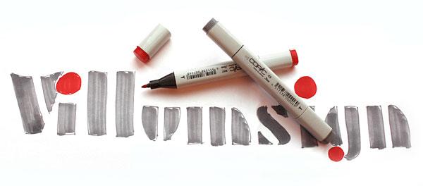 Villumsign tegnet logo og Copic Markers